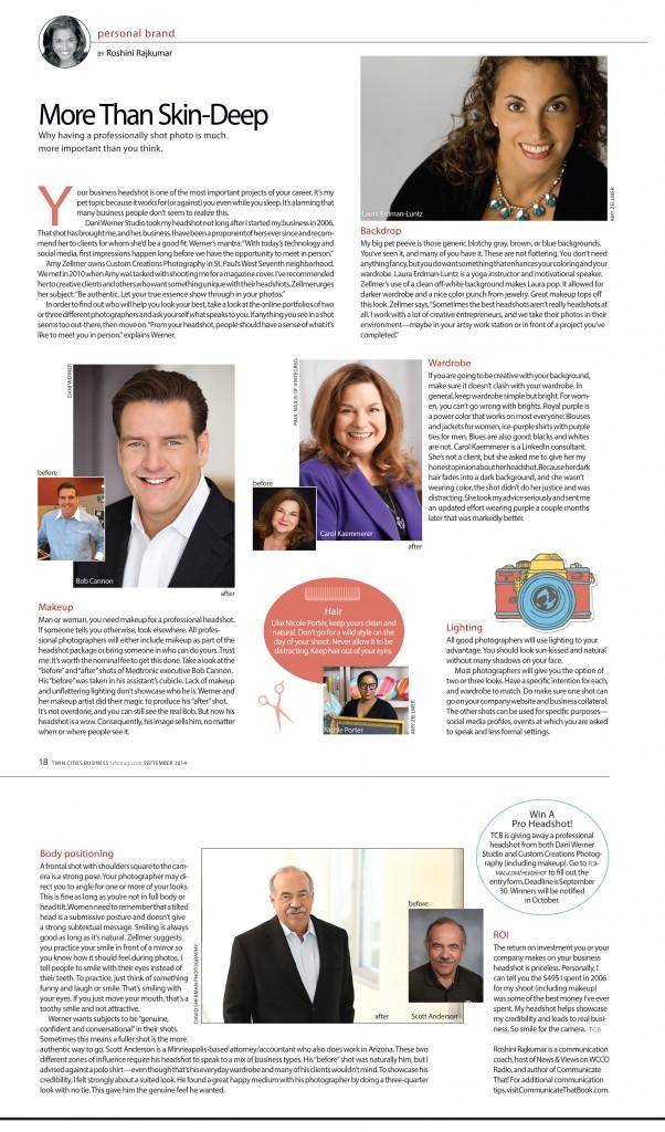 TCBmag Twin Cities Business Magazine Portrait headshot Custom Creations Photography Amy Zellmer Roshini Rajkumar Dani Werner